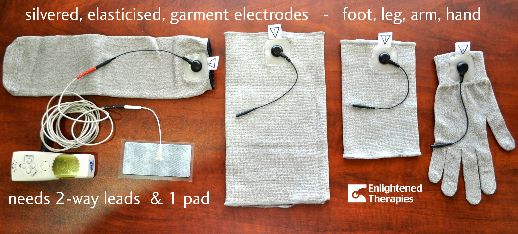 Elasticised silvered garment electrodes – hand, foot, arm, leg